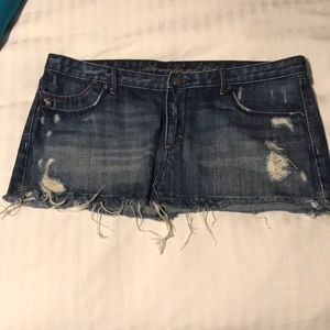 Abercrombie and Fitch distress jean skirt